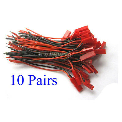 10x  JST 2P cable Lead connector #24AWG Wire 10cm 100mm Plug Socket Lipo Battery
