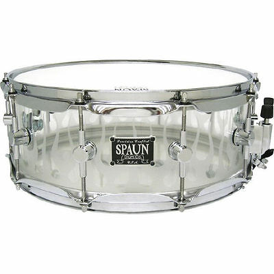 Spaun 14 x 5.5 Custom Acrylic Snare Drum with Snadblasted Flames