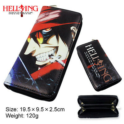 Colorful long style PU wallet printed with Anime HELLSING Alucard with zipper