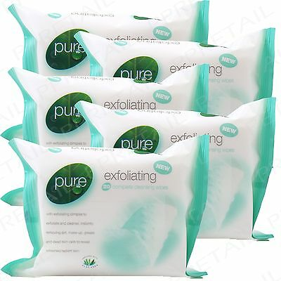 100 Pure~EXFOLIATING~Cleansing Wipes Beauty Facial Clean Make-Up Remover Refresh