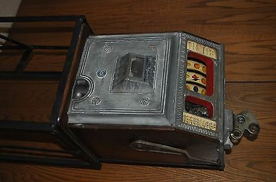 antique watling nickal blue seal bell slot machine with stand