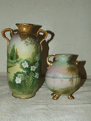 Antique Lot of 2 NIPPON Japan Hand Painted Porcelain Gorgeous Handled Vase Urns