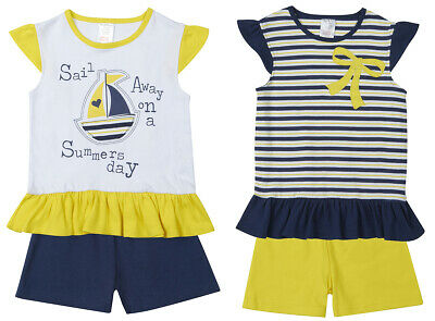 MINI KIDZ Girls T-Shirt & Shorts 2 Piece Set Nautical Childs Infants 2- 6 Years