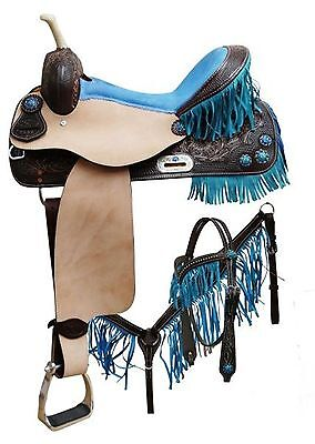 "15"" Double T Barrel Saddle w Teal Fringe & Matching Headstall Breastcollar"