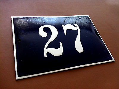 Vintage European French Enamel Sign House Number 27 Door Gate Sign Cobalt Blue