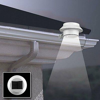 Solar Powered 3 LED Fence Gutter Light Outdoor Garden Wall Pathway Security Lamp