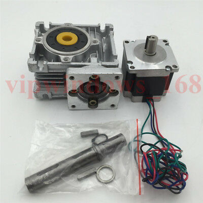 Nema23 16.5Nm Stepper Motor L56mm + 15:1 Worm Gearbox CNC Speed Reducer Set