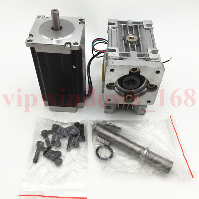 Nema23 18Nm Stepper Motor L76mm 10:1 Gearbox Worm Speed Reducer for CNC Router