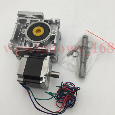 Nema23 20:1 Gearbox Stepper Motor L76mm 1.8Nm Worm Speed Reducer CNC Router Mill