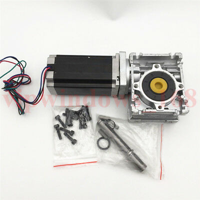 Nema23 2ph 54Nm Geared Stepper Motor L76mm 30:1 Worm Gearbox Speed Reducer