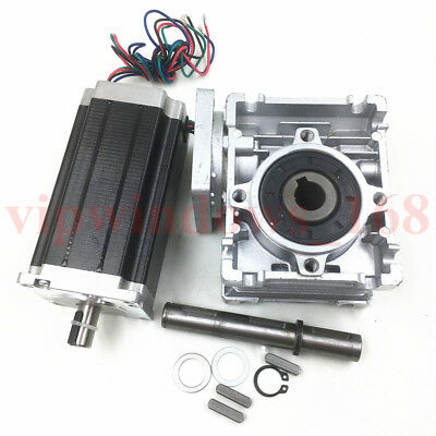 Nema23 Geared Stepper Motor L112mm 4.2A 60Nm 20:1 Worm Gearbox for Engraver