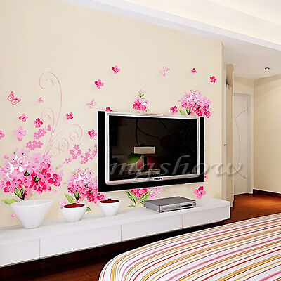 Pink Flowers Blossom Wall Sticker Decal Removable Home Room Decor Art Vinyl Girl