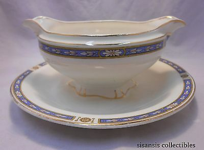 Grindley Porcelain Gravy Boat with attached underplate Monmouth Blue Gold