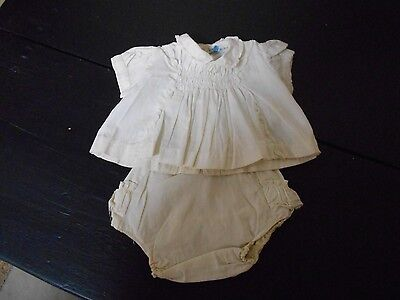 Baby's Vintage 2 Piece White Cotton Outfit