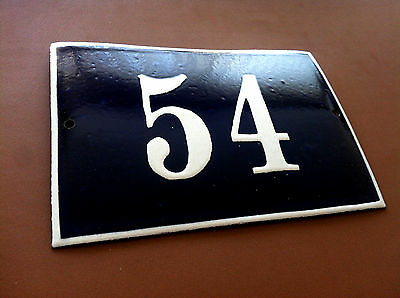 Vintage European French Enamel Sign House Number 54 Door Gate Sign Cobalt Blue