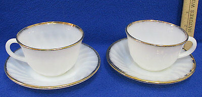Vintage Fire King Cups & Saucers Oven Ware White Milk Glass Gold Trim Lot of 4
