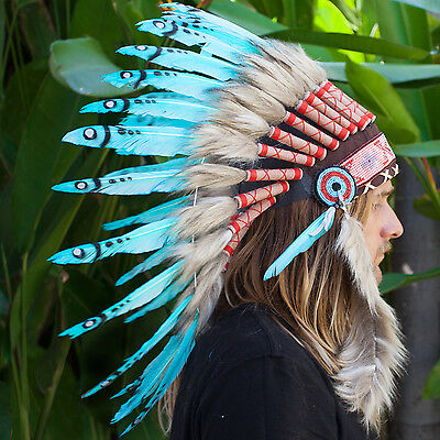 Feather Headdress -Native American Indian style War Bonnet- Turquoise Duck