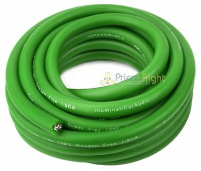 0 Gauge 25' Wire Green 1/0 Amp Amplifier Power Ground Car Audio 25 Ft Feet Cable