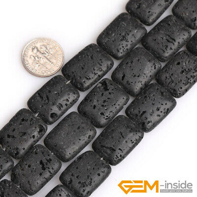 Natural Black Lava Volcanic Sponge Stone Rectangle Beads For Jewelry Making 15""