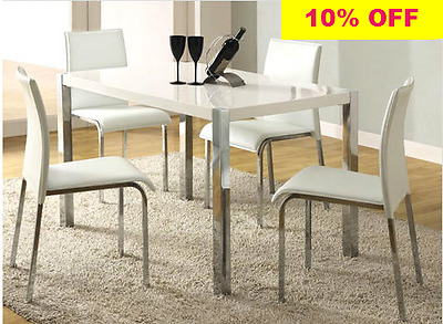 NEW Contemporary White High Gloss Dining Table And 4 Chairs Set in Faux Leather