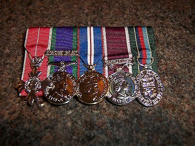 5 Miniature Medals Court Mounted Ready For Wear