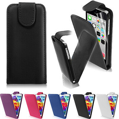 New Stylish Flip Vertical Leather Case Cover For iPhone 4 5 5S Samsung Galaxy S3