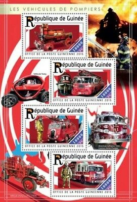Guinea - 2015 Fire Engines - 4 Stamp Sheet - 7B-2505