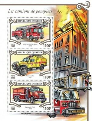 Niger - 2015 Fire Engines - 3 Stamp Sheet - 14A-617