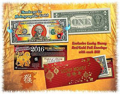 2016 Chinese New Year Lucky Money YEAR OF THE MONKEY Gold Hologram U.S. $1 BILL