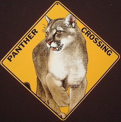 PANTHER CROSSING Sign aluminum decor cats home animals novelty signs wildlife