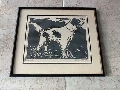"Retriever Dog Titled ""Sandy"" Woodblock Print-Signed Gordon Deacon         #970"