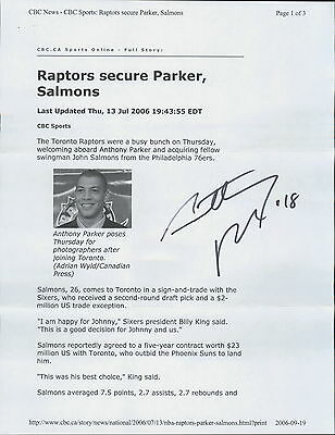 ANTHONY PARKER - AUTOGRAPHED PRINTED PAGE w/ ICEBOX LOA