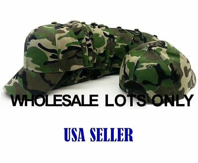 Camo Camouflage  Wholesale Lot Of 12 Plain Blank Military Baseball Caps Hats
