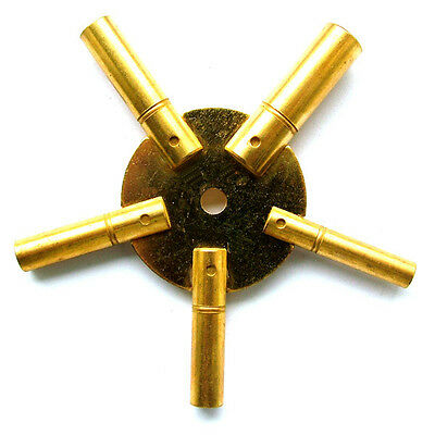 Brass 5 Star Clock Winding Key Even Sizes