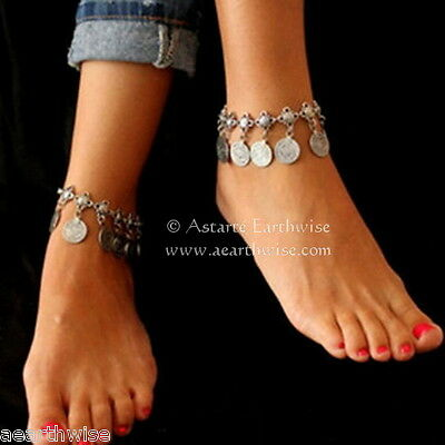 ANKLET -  SILVER WITH METAL COINS Wicca Witch Pagan Belly Dance Goth Hippie
