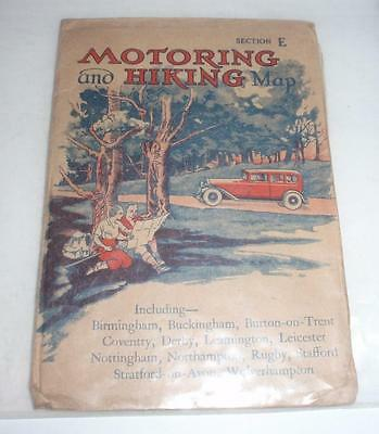 "Circa 1930 ""Motoring and Hiking Map"" - Section E - Central England"