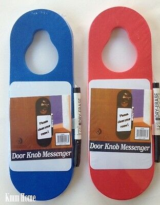 Foam Door Knob Messenger Hanger with Marker Blue or Red NEW
