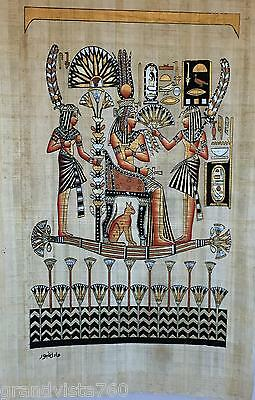 New Hand Painted Egyptian Art on Papyrus: Nefertari on Barge with Servants A25