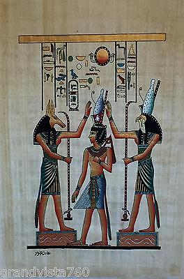 New Hand Painted Egyptian Art on Papyrus: Seth and Horus Attending to Hatum A32