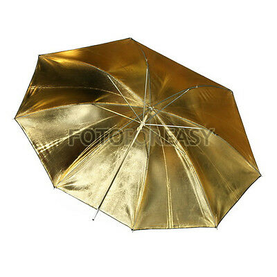 "33"" 83cm Foto Studio Flash Light Studioschirm Reflexschirm schwarz/gold Umbrella"