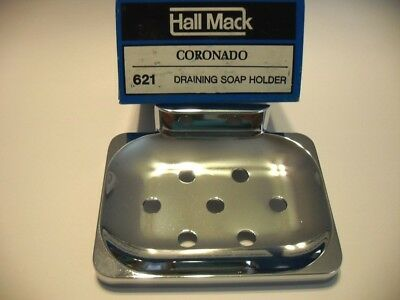 Vtg NOS CHROME SOAP DISH Holder w/ drain holes Wall Mount Hall-Mack Airstream