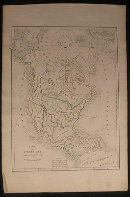 North America United States c.1835 rare antique engraved hand color map