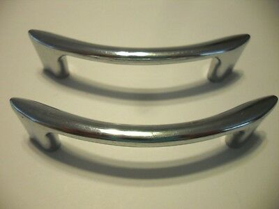 2 Vintage 1950s CHROME Drawer or Cabinet Door Pulls Handles Smile Shaped Amerock