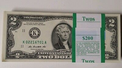 25 Mint, Uncirculated Two Dollar Bill, Crisp $2 Note, Consecutive Serial Number
