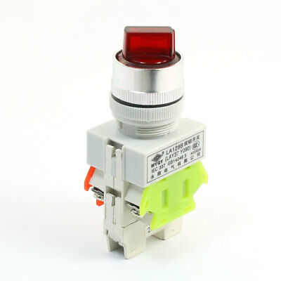 10A 660V Panel Mount Self-locking 3P Control Red Lamp Light DPST Rotary Switch