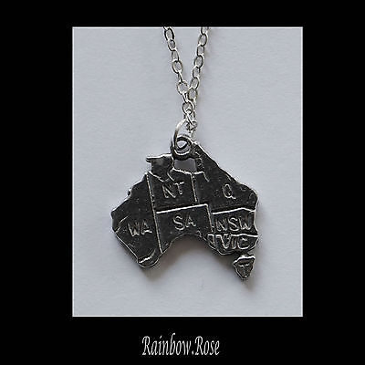 Pewter Necklace on Chain #166 AUSTRALIA MAP - Silver Tone 20mm Aussie