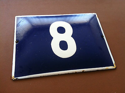 ANTIQUE VINTAGE ENAMEL SIGN HOUSE NUMBER 8 BLUE DOOR GATE SIGN 1950's