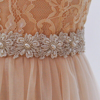 Elegant Lovely Pearls Flower Wedding Dress Sash Bridal Belt With Beading Crystal