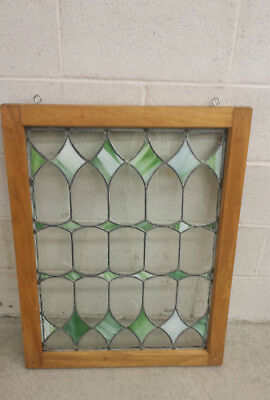 "VINTAGE green slag and clear glass window zinc 24"" x 31"" x 1 1/2"" framed"