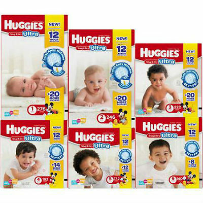 HUGGIES Snug & Dry ULTRA Diapers, Economy Plus Pack, (Choose Your Size) each